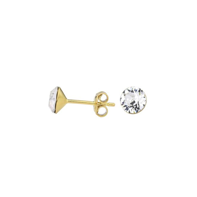 Earrings transparent Swarovski crystal ear studs 6mm - gold plated sterling silver - ARLIZI 1011 - Lucy