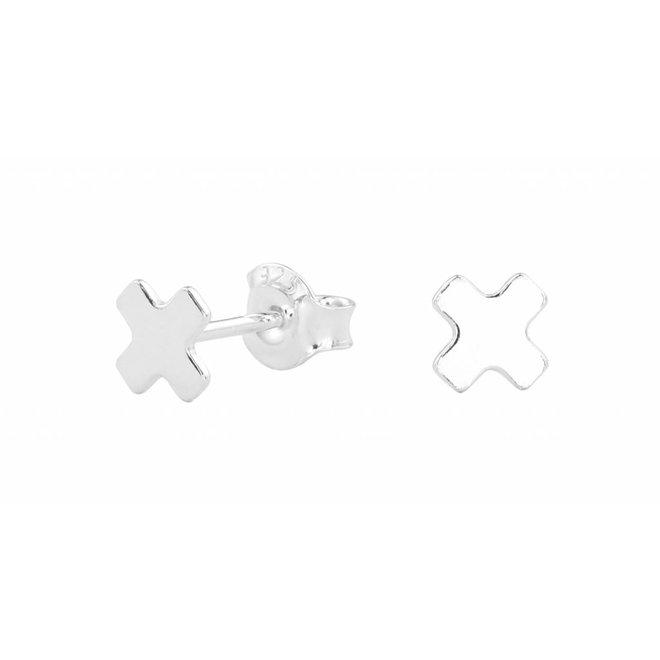 Earrings cross ear studs - silver - 0996