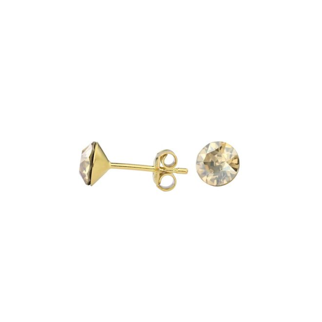 Earrings gold coloured Swarovski crystal ear studs 6mm - gold plated sterling silver - ARLIZI 1015 - Lucy