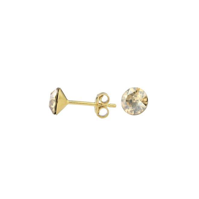 Ohrringe goldfarbig Kristall - Silber vergoldet - 1015