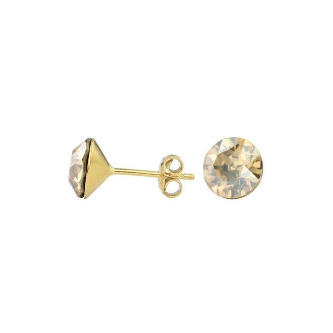 Oorbellen goudkleurig Swarovski kristal oorstekers 8mm - verguld sterling zilver - ARLIZI 1016 - Lucy