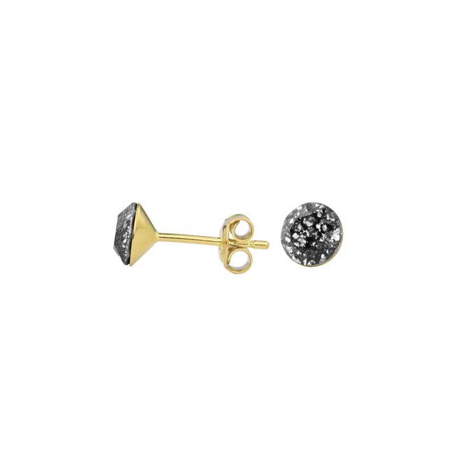 Earrings black crystal - silver gold plated - 1019