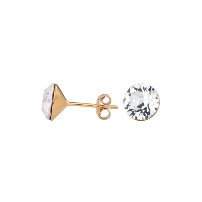 Earrings transparent Swarovski crystal ear studs 8mm - rose gold plated sterling silver - ARLIZI 1022 - Lucy