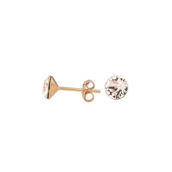 Earrings champagne Swarovski crystal ear studs 6mm - rose gold plated sterling silver - ARLIZI 1025 - Lucy