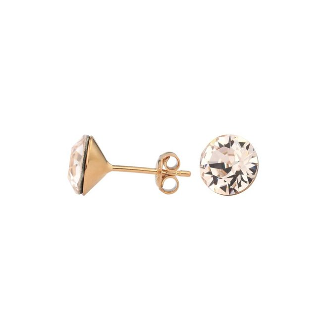 Earrings champagne Swarovski crystal ear studs 8mm - rose gold plated sterling silver - ARLIZI 1026 - Lucy
