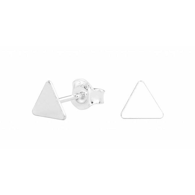 Earrings triangle ear studs - silver - 0997