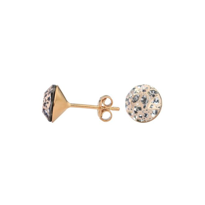 Earrings rose gold Swarovski crystal ear studs 8mm - rose gold plated sterling silver - ARLIZI 1030 - Lucy