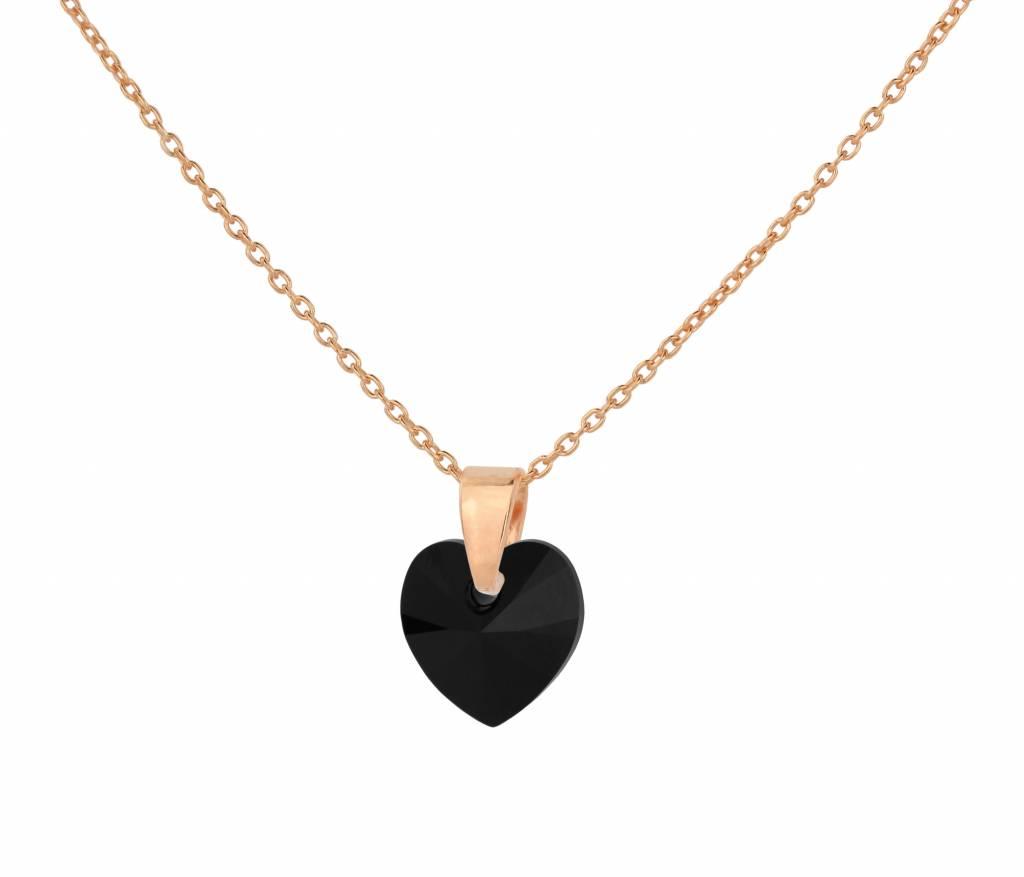 Necklace Black Crystal Heart 925 Silver Rose Gold Plated Arlizi 1033 Arlizi Jewelry Webshop
