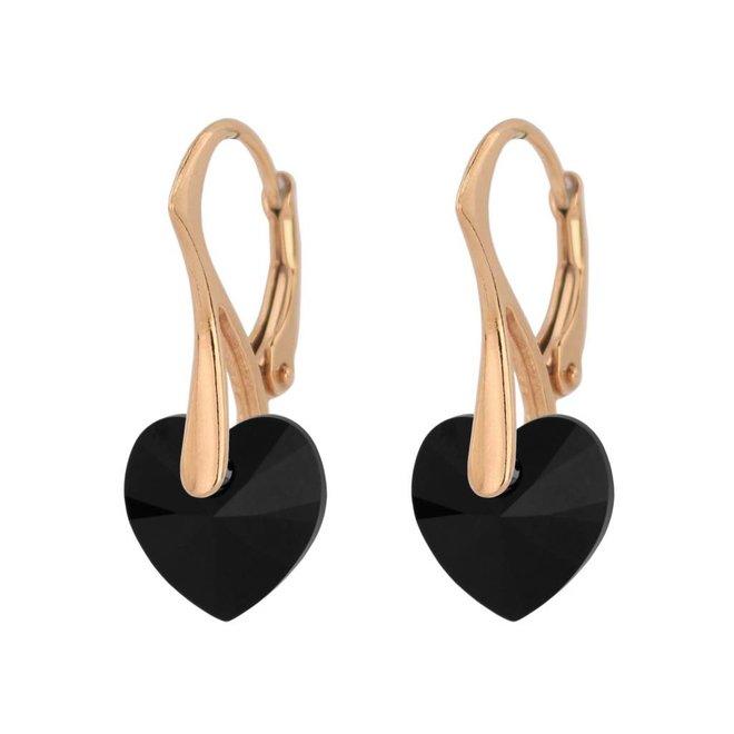 Earrings black Swarovski crystal heart - rose gold plated sterling silver - ARLIZI 1034 - Eva