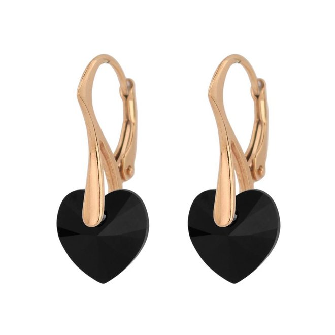 Ohrringe schwarz Swarovski Kristall Herz - Sterling Silber rosé vergoldet - ARLIZI 1034 - Eva