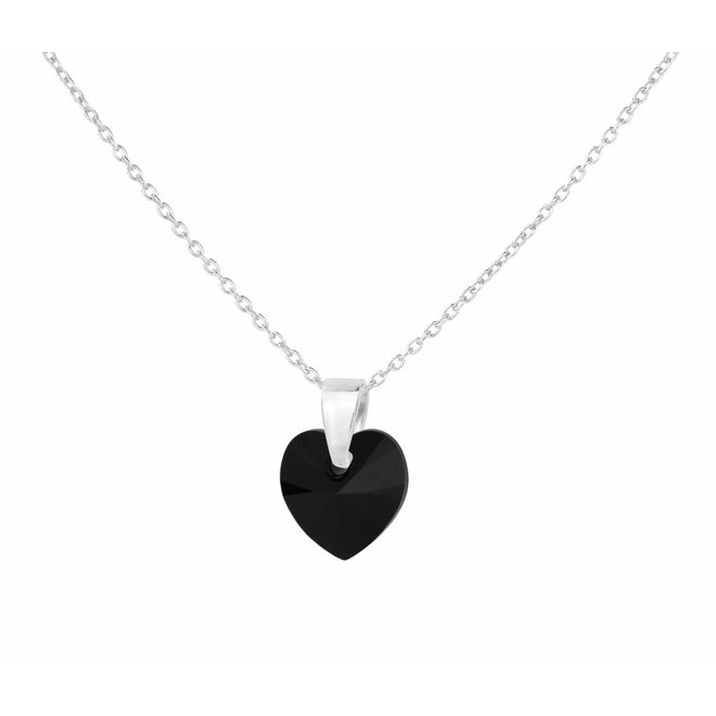 Necklace black crystal heart - sterling silver - 1035
