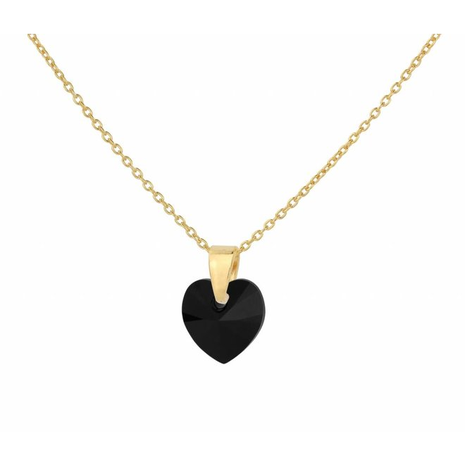 Necklace black crystal heart - silver gold plated - 1037