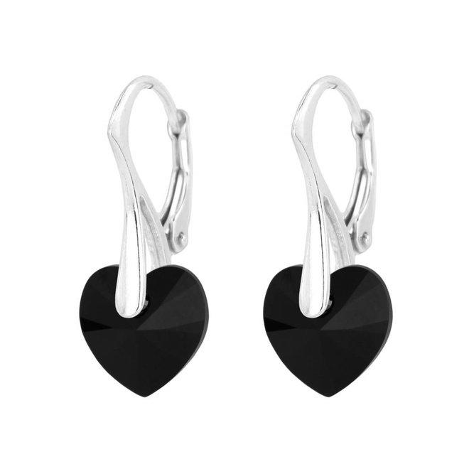 Earrings black crystal heart - sterling silver - 1036