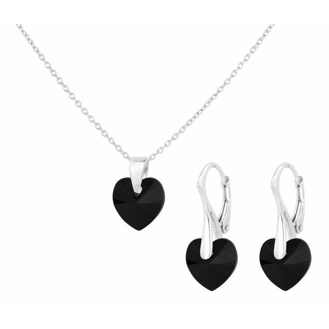 Jewelry set black crystal heart - sterling silver - 1039