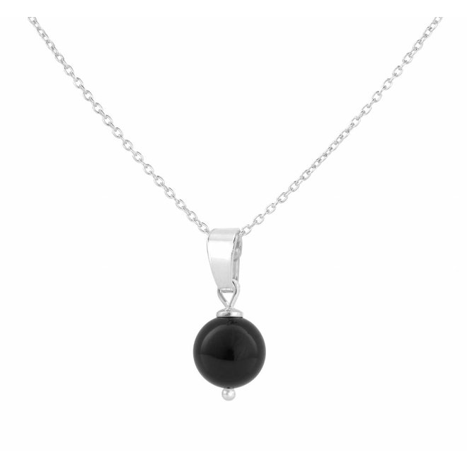 Necklace black pearl pendant - sterling silver - 1040