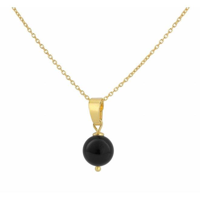 Halskette Perle Anhänger schwarz - Silber vergoldet - 1042