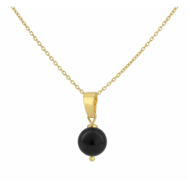 Necklace black pearl pendant - silver gold plated - 1042