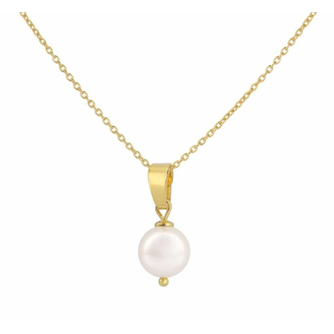Halskette Perle Anhänger weiß - Silber vergoldet - 1043