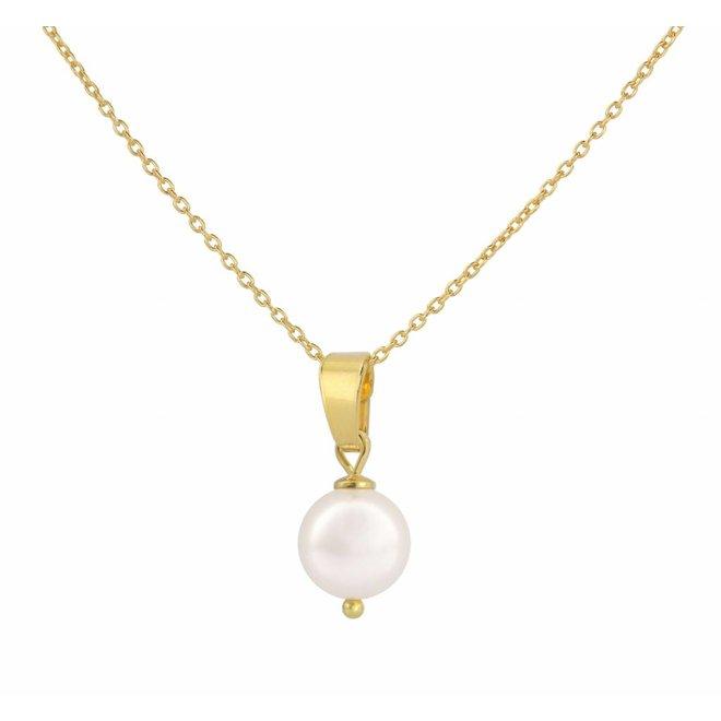 Halskette Perle Anhänger weiß - Sterling Silber vergoldet - ARLIZI 1043 - Natalia