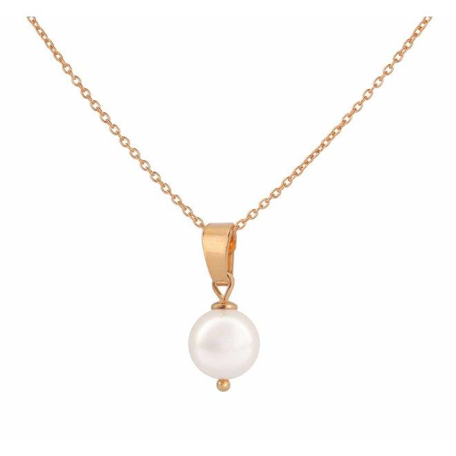 Halskette Perle Anhänger weiß - Silber rosé vergoldet - 1046