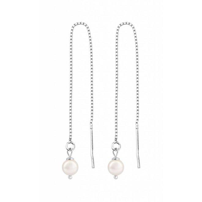 Durchzieher Ohrringe weiß Perle - Sterling Silber - 1052