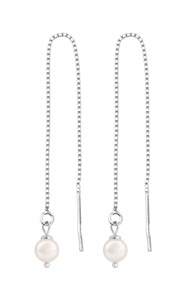 herren Super Rabatt Entdecken Durchzieher Ohrringe Silber weiße Perle - ARLIZI 1052