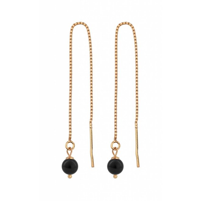 Earrings black pearl ear threads - rose gold plated sterling silver - ARLIZI 1055 - Emma