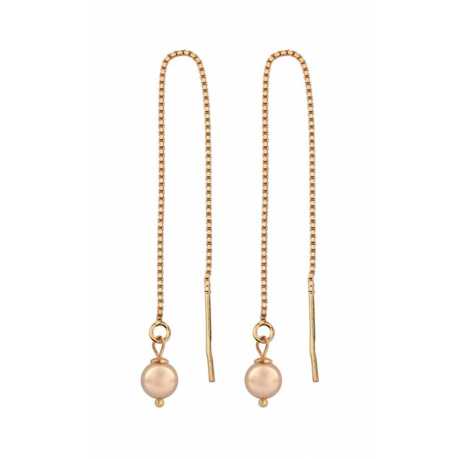 Earrings rose gold pearl ear threads - rose gold plated sterling silver - ARLIZI 1056 - Emma