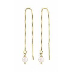 Durchzieher Ohrringe weiß Perle - Silber vergoldet - 1061
