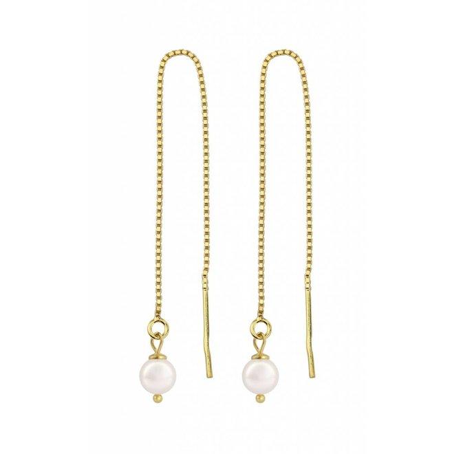 Durchzieher Ohrringe weiß Perle - Sterling Silber vergoldet - ARLIZI 1061 - Emma