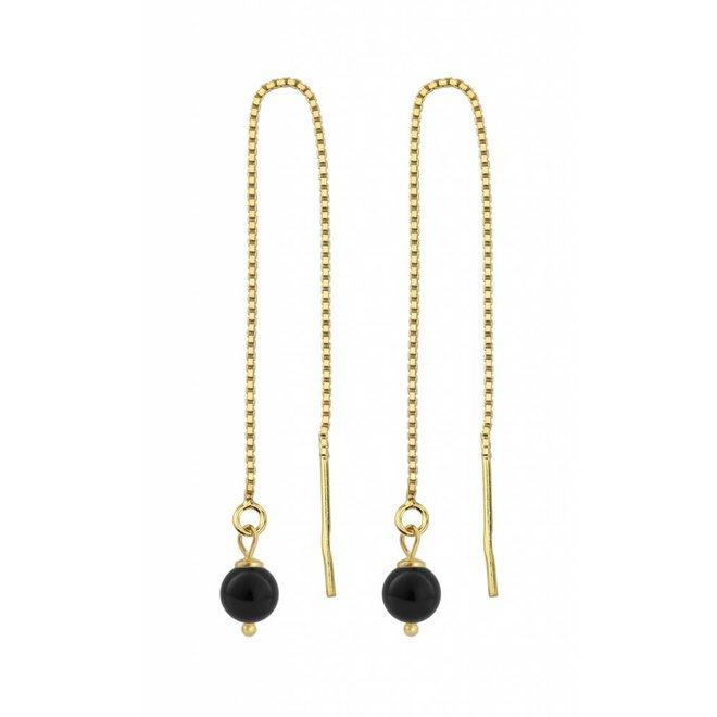 Durchzieher Ohrringe schwarz Perle - Silber vergoldet - 1062