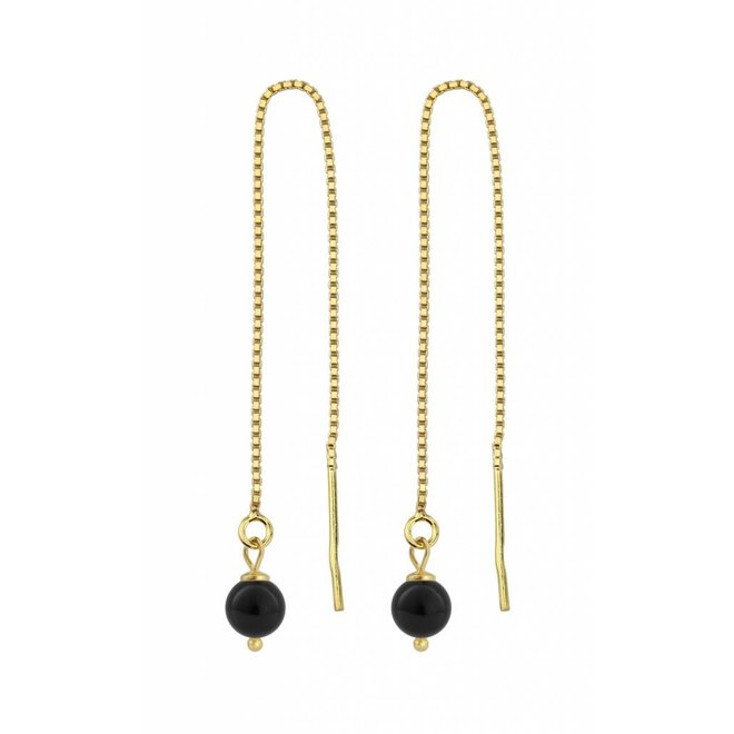 Earrings black pearl - silver gold plated - 1062