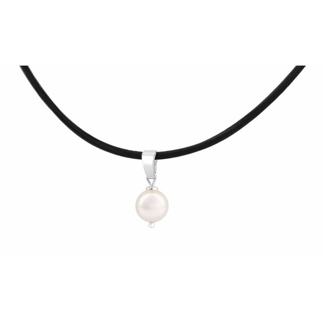 Choker necklace black leather pearl size M - silver - 1070