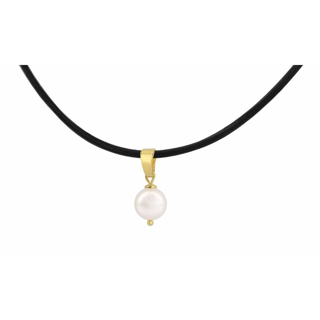 Choker necklace leather white pearl size M - silver gold plated - 1072