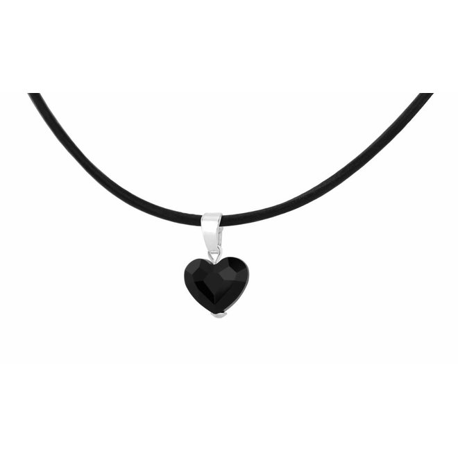 Necklace leather black crystal heart - silver - 1067