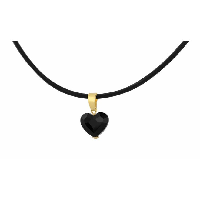 Necklace leather black crystal heart - silver gold plated - 1068