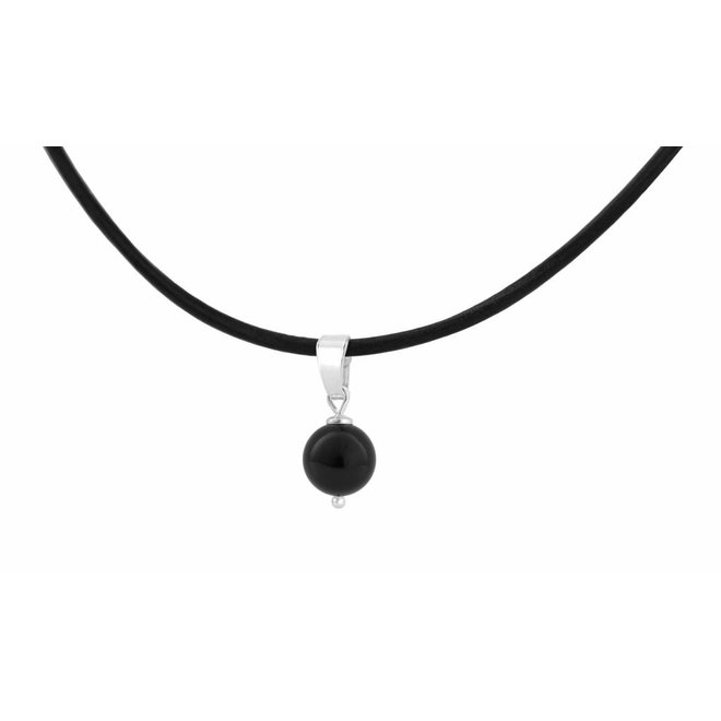 Choker necklace leather black pearl size M - silver - 1079