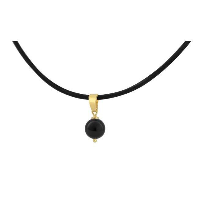 Choker necklace leather black pearl size M - silver gold plated - 1081
