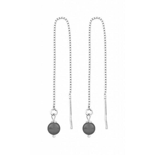 Doortrekoorbellen grijze parel - sterling zilver - 1050