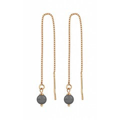 Earrings grey pearl - silver rose gold plated - 1057