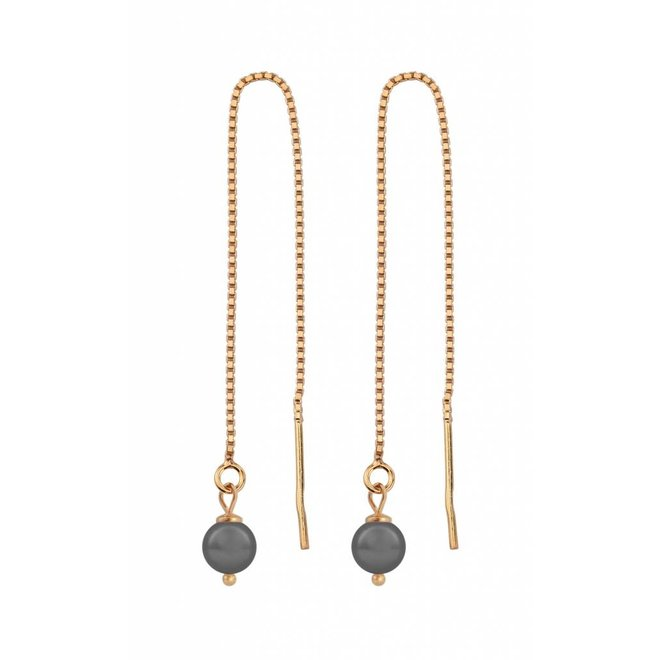 Earrings grey pearl ear threads - rose gold plated sterling silver - ARLIZI 1057 - Emma