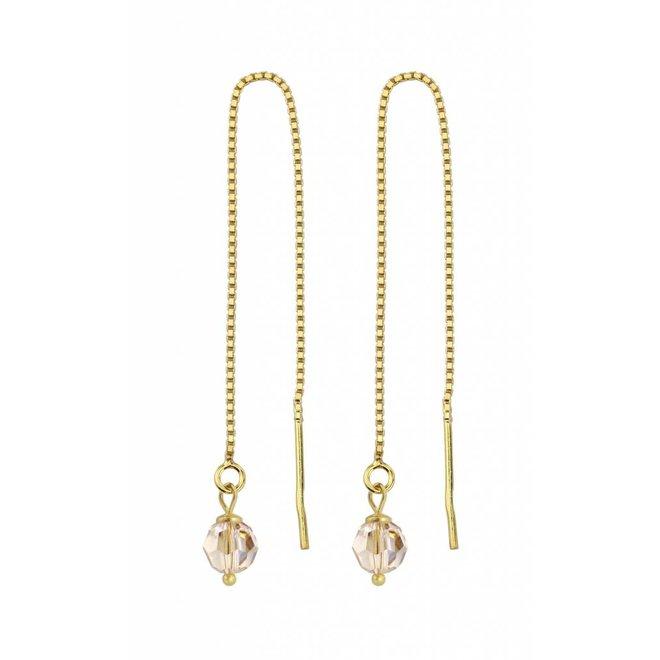 Durchzieher Ohrringe goldfarbig Swarovski Kristall - Sterling Silber vergoldet - ARLIZI 1066 - Emma