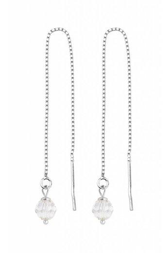 Earrings transparent Swarovski crystal ear threads - sterling silver - ARLIZI 1053 - Emma