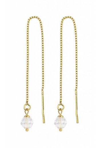 Earrings transparent Swarovski crystal ear threads - gold plated sterling silver - ARLIZI 1063 - Emma
