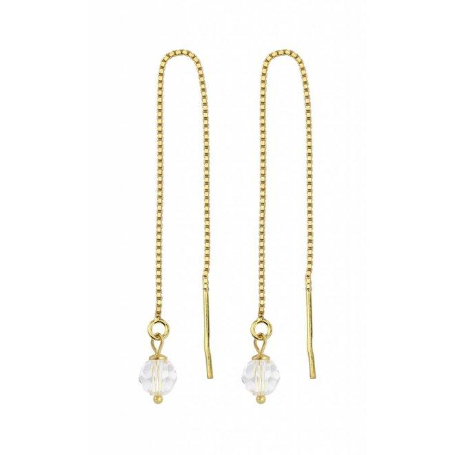 Durchzieher Ohrringe Kristall - Silber vergoldet - 1063