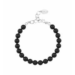 Perlenarmband schwarz - Sterling Silber - 1085