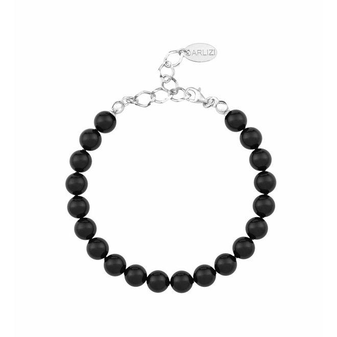 Pearl bracelet black 8mm - sterling silver - ARLIZI 1085 - Noa