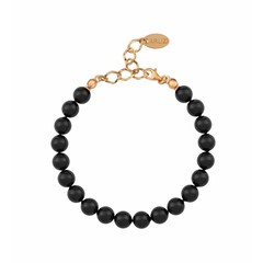 Pearl bracelet black - silver rose gold plated - 1087