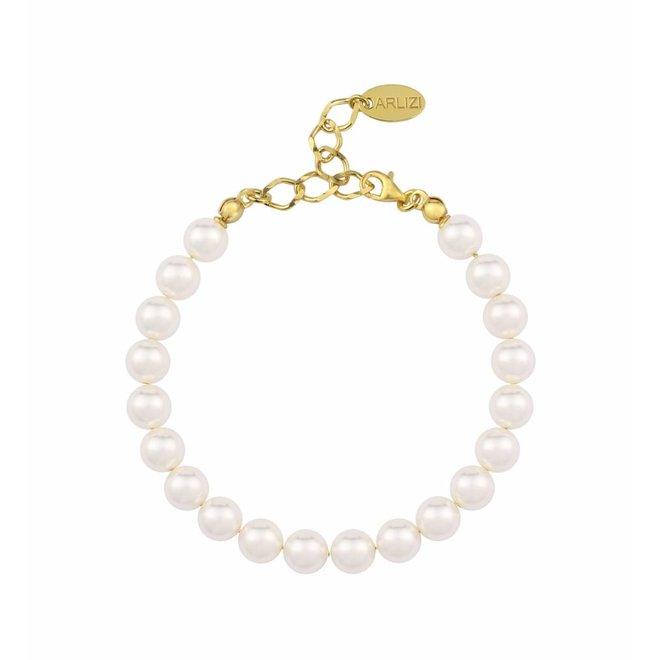 Perlenarmband weiß - Silber vergoldet - 1089