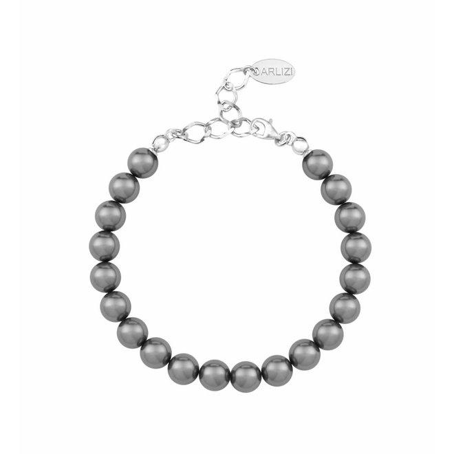 Parel armband grijs - sterling zilver - 1107